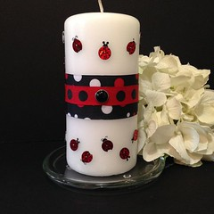 Lady Bug Pillar Candle/ Unscented Pillar by CreativeGlassByBecky (Home Decor and Fashion) Tags: bug by candle creativeglassbybecky lady pillar unscented