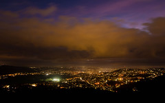 View of Bath at night from Solsbury Hill (Ian Redding) Tags: bath bathabbey city england solsburyhill somerset uk unesco worldheritage cityscape clouds daytonight dusk high hills landscape lights night nightview sky timelapse valley view viewpoint weather wind