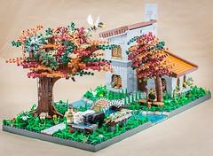 Utopia (Milan Sekiz) Tags: lego tree house grass water bridge texture dog horse fantasy garden owl river swing road rock