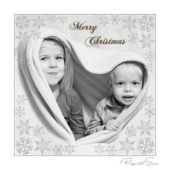 christmascard (PaquitaSix) Tags: christmas monochroom outerborder boy girl brother sister card