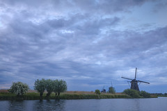 High Sky (Joost10000) Tags: water tree trees sky blue hour bluehour evening river grass windmill mill molen kinderdijk zuid holland zuidholland netherlands avond muhle canon eos canon5d landscape scenic outdoors beauty europe clouds