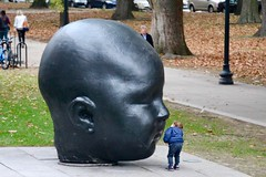 Toddler and Baby Head (Read2me) Tags: mfa art statue sculpture child curious outdoors black funny humor museum gallery thechallengefactorywinner pregamewinner 15challengeswinner challengeyouwinnerunanimous challengeclubwinner friendlychallenges agcgwinner gamewinner