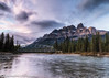 Castle Mountain at Sunset (ihoskins57) Tags: alberta water castlemountain canada ©nigelhoskinsphotography sunset bowriver river improvementdistrictno9 ca