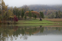 Mirror-like Pond, Washington, Virginia (dckellyphoto) Tags: pond lake rappahannock autumn mist misty fog cold washingtonvirginia washingtonva rappahannockcounty rural placid