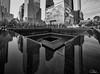 9/11 Memorial Fountain (Dan NYNJ) Tags: fineart newyork nikon manhattan freedomtower 911memorial blackwhite cityscape monochrome museum newyorkcity water buildings skyscrapers bw skyline nikon1424f28 blackandwhite