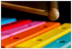Stone Rhyming Zone - Xylophone (EddieAC) Tags: macromondays stonerhymimgzone xylophone mallet colour rearcurtain flash woodenbars toy