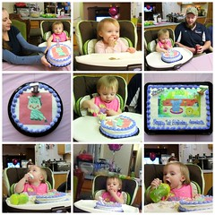 Annabelle With Her Birthday Cakes (genesee_metcalfs) Tags: collage november fall autumn family fun birthday granddaughter party daughterinlaw son cake candle