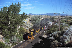 Provo Turn in the Jordan Narrows (jamesbelmont) Tags: emd gp402 ut04l drgw riogrande southernpacific jordannarrows bluffdale utah railway