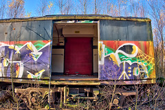 Boxcar Grafitti (simonannable) Tags: toton wagon railroad boxcar totonsidings image fujifilm xt1 grafitti art urban exploration vandalised vandalism obsolete abandoned rollingstock derelict train opendoor secretplace oldtrain bygone blackpad carriage railways britishrail uk open