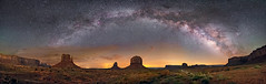 Monument Valley Panorama (Wayne Pinkston) Tags: monumentvalley navajotribalpark navajo mittens butte mesa night sky nightlandscape nightphotography nightscape waynepinkston waynepinkstonphotocom lightcrafter lightcraftercom star stars starrynight milkyway cosmos theheavens dramaticsky astrophotography landscapeastrophotography widefieldastrophotography nikon panorama wideangle desert