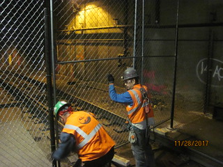 Construction zone preparation at track level in Grand Central Terminal to support the installation of two new escalators that will connect future LIRR passengers to the Biltmore Room. (CM014B 11-28-2017)