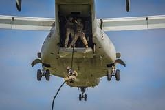 "U.S. Marines conduct fast rope training aboard Camp Hansen, Okinawa (#PACOM) Tags: 1stmaw okinawa japan marine marinecorps iiimef iiimarineexpeditionaryforce usjapanalliance mcas mcasfutenma pacific usmc mag36 hqmc pacom marineaircraftgroup36 1stmarineaircraftwing squadron wing motivational marines commstrat skilled smart strong camphansen fastrope fastroping mv22b mv22 osprey mv22osprey marineosprey vmm262 tiltrotor 13 1stbattalion 3rdmarineregiment 3rdmarinedivision pilot crewchief uspacificcommand ""pacom jp"