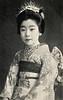 Osaka Maiko in Festival Dress 1900 (Blue Ruin 1) Tags: osakamaiko apprenticegeisha geiko geisha kanzashi haneri obiage pocchiri japanese japan meijiperiod 1900s 1900 postcard