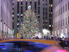2017 Christmas Tree Rockefeller Center NYC 4470 (Brechtbug) Tags: 2017 christmas tree rockefeller center after lighting 12022017 nyc 30 rock new york city standing up above ice rink with snow shoveling workers skating holiday decoration ornaments night lights lites light oversize load ornament prometheus gold mythological statue sculpture fountain fountains post thanksgiving