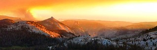 Clouds Rest and Half Dome Sunset from Tressider Peak Ridge - Yosemite