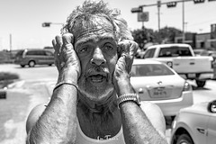 Hoyt-9176 (~La Force~) Tags: d7100 nikon street begging panhandler homeless wifebeater drunk crazy mental hopeless candid dallas dfw frustrated despair laughing smiling