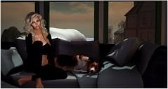 Sunday (Sivyaleah (Elora)) Tags: second life avatar virtual mesh bento girl woman female head lelutka simone maitreya lara emotions jaily blonde applier session sophia ripped blueberry jacket ela fur leggings cake dog jian southern shelties sleeping couch spaces rainy day nook decocrate