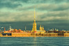 Saint Petersburg, Russia. The view of Peter and Paul Fortress from the Neva river under sunbeam at very cloudy winter day. (g_reg_walker) Tags: russia island sunbeam cathedral embankment square historical perspective river travel view excursion landmark attraction history bastion saint stock old spit morning dome sights fortress sightseeing wall center cloudy city winter neva trip peter paul cityscape vasilievsky ravelin petersburg zayachy