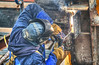 construction-1 (albyn.davis) Tags: nyc newyorkcity people construction worker light color colors blue welding man work working