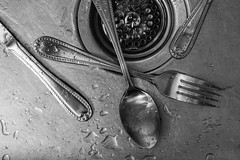 Black & White Photo Project - Day 6 (dckellyphoto) Tags: noiretblanc sink spoon fork knife drain water metal metallic wet stilllife grayscale kitchen common blackandwhite 7dayphotochallenge sevendayssevenphotos 7days7photos