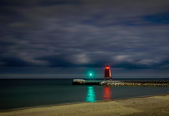 Storm Front Appoaching (T P Mann Photography) Tags: storm sky cloud clouds front night long exposure light lighthouse shore michigan cold ice pier low canon reflections railing dusk dark evening beach lake sea seascape horizon