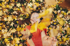 Falling (Elizabeth Sallee Bauer) Tags: autumn child childhood fall fun girl harvest kid leaves outdoors outside overhead playing warmth yellow