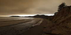 Smoky Skies (Z. Abbey) Tags: pismobeach sanluisobispocounty california sky clouds cloudsstormssunsetssunrises canont3i canon outdoors ocean morning pacificocean nature water waves sepia