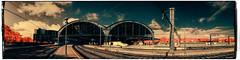 Estació de França (Ar@lee) Tags: ir infraroig barcelona catalunya marquèsdelargentera eduardmaristany bordeparafotos d50 espectrecomplet fullspectrum fotografíainfrarroja filtro680nm nikond50 photographyinfrared panorámica arquitectura railroad ferrocarril railes vias red trees sky clouds blue