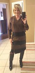 Front Zip Skirt with Patent Boots (krislagreen) Tags: tg transgender tranvestite cd crossdress skirt boots blouse hose along olive black patent femme feminized feminization