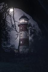 Tower of rising Moon (PixTuner) Tags: pixtuner lighthouse dark düster night nacht dunkel dunkelheit mystisch mysterious mystic leuchtturm moonlight bremerhaven moon mond mondlicht horror grusel nightlight nightlights nachtlicht