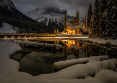 Quintessentially Canadian (WherezJeff) Tags: britishcolumbia canada emeraldlake michaelpeak nationalpark night orton yoho cabin cloud lodge longexposure moonlight mountains reflection warmth field d850