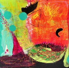 Tropical Dream (FarStarr) Tags: paint painting 12x12 board acrylicpaint mixedmedia art abstract orange green marks texture swapbot