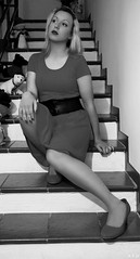 Black and White (KurenaiSutcliff) Tags: model girl blonde blondegirl lady pinup pin up sexy makeup red reddress dress elegant black white photoset photoshoot