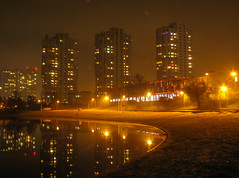 Telbin lake on misty evening (bolex.ua) Tags: evening mist lake city lights december houses kyiv kiev ukraine telbin reflection glowing