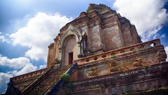WHY do men build majestic monuments for the gods..? (J316) Tags: j316 buddha buddhism sony a77 thailand rock stone brick terracotta hdr pride prejudice sky clouds temple placeofworship decay blue sunlight ruins