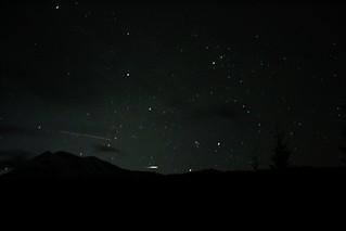 Night Sky Meteor and Plane