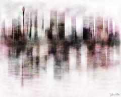 city wrapped in colour (YvonneRaulston) Tags: surreal australia nsw sydney city buildings soft texture atmospheric art abstract water watercolour harbour creativeartphotography calm clouds dream dusk emotive fineartgrunge fog photoshopartistry colour moody moments icm