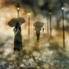 night changes . . . (YvonneRaulston) Tags: light lights lamp path lane cobblestones gold night girl lady woman people person rain raindrops umbrella atmospheric art creativeartphotography calm colour dream dusk emotive europe texture peaceful wet fineartgrunge soft glow bokeh moody moments netartii sony photoshopartistry surreal street