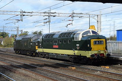 BR 55002 and D6700 @ Rugeley Trent Valley station (ianjpoole) Tags: british railways class 55 deltic 55002 d9002 kings own yorkshire light infantry 37 tractor d6700 working 0z55 alton mid hants railway york national museum