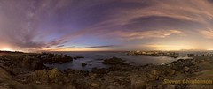 Asylum at the Sea (Steven Christenson) Tags: california clouds stars sky landscape night ocean pacific rocks lightpollution monterey pacificgrove milkyway microsoftice imagecompositeeditor asilomar asilomarstatebeach santacruz
