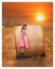 Evening Beauty (Ethan|xxvi) Tags: beautiful evening backlit girl pink dress dreamy children farm eveningsun little cutie ethanxavierphotography colorful sky