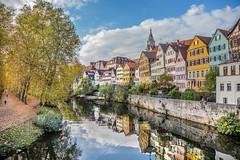 Tübingen am Neckar (SonjaS.) Tags: tübingen neckarinsel neckar badenwürttemberg fluss deutschland germany canon6d stocherkahn herbst autumn spiegelung reflektion