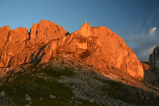 Teufelswandspitze and Croz di Santa Giuliana in sunrise glow