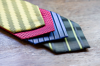 Yellow, red, blue, and green ties