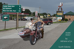 ADVENTURE ON THE ROAD 1 (ADRIANO ART FOR PASSION) Tags: photoshop fotomontaggi photomontage ontheroad gilera motocicletta motociclettacosidecar nikon nikond90 nikond80 2009 2017 flickrpanda southdakota custer ristorante sosta insegna strada