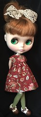 Fall 2017...Cinnamon Floral Dress, Woven Cotton Trim Hair Bow And Moss Green Tall Socks...For Blythe...