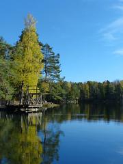 Stupetårnet ved Langevann (Re kommune) Tags: langevann re kommune natur vann tjern innsjø høst høstbilde friluft friluftsliv tur skogstur skog badevann bade fiske fiskevann fritid