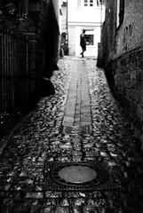 The man comes around (Leica M6/Summitar/TRI-X) (stefankamert) Tags: stefankamert themancomesaround man street noir bw baw blackandwhite blackwhite tübingen alley cobblestones blur film analog grain leica m6 leicam6 kodak trix summitar rain