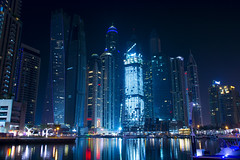 DUBAI - MARINA (sarath maroli dubai) Tags: lake beauty boat reflection buildings outdoor tourism cityscape nikon 500px marina lightning long exposure blue sky photography waterfront colourful uae low light ride famous place travel nightscape city dubai skyline urban architectural modern