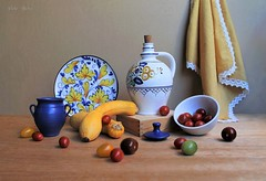 Colours and Tastes (Esther Spektor - Thanks for 12+millions views..) Tags: stilllife naturemorte bodegon naturezamorta stilleben naturamorta composition artisticphoto creativephotography art tabletop color taste vegetable tomato zucchini plate bottle jar lid towel bowl box decorative pattern ceramics wooden white yellow red green blue cobalt brown estherspektor canon